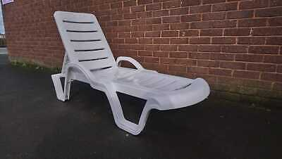 Miraculous Sun Lounger Outdoor Garden Patio White Plastic Wipe Clean Evergreenethics Interior Chair Design Evergreenethicsorg