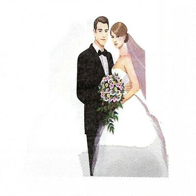 Serviettes En Papier Maries Mariage Amour Couple. Paper Napkins Wedding Couple