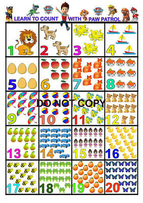 Paw Patrol Learn To Count A3 Glossy Poster