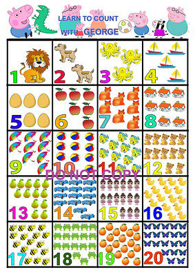 George Pig Learn To Count A3 Glossy Poster