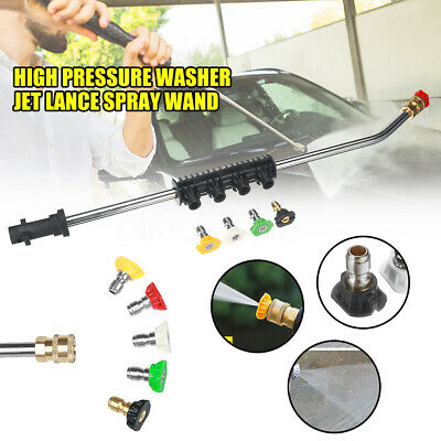 High Pressure Washer Jet Lance Spray Wand + 5 Nozzle Tips 1/4 for Karcher K1-K7