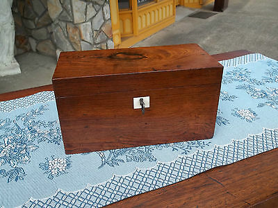 Grand Rosewood Tea Caddy with a Mother of Pearl Key Escutcheon 19th century