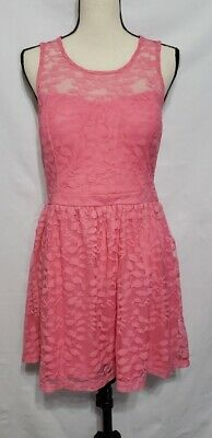 Candies prom Gown Dress lace Overlay Pink Coral Wedding Large L