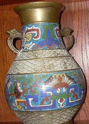 ANTIQUE Champleve/Cloisonne VASE Large URN Bronze from JAPAN RARE ANTIQUE