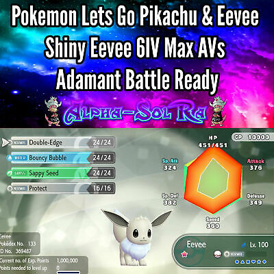 Pokemon Lets Go Pikachu & Eevee Shiny Eevee 6IV Max AVs Adamant Battle Ready