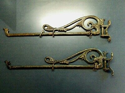 Vintage Antique Pair Wrought Iron, Antique Swing Out Curtain Rods