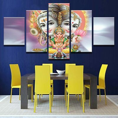 Shiva Parvati Ganesha Poster HD Printed Abstract Pic Wall Art 5 Pieces No Frame