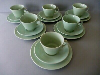 Woods Ware Beryl - Green - 6 Trio's: Tea Cups, Saucers & Side Plates