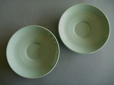 "Woods Ware Beryl - Green - 2 Demitasse Coffee Saucers - 4.5"" or 11.5 cm diameter"