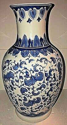 Chinese Canton Collection Vase, Blue White, Tall