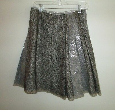 80df4dff1388 Schumacher Brown Silver Tweed Pleated Skirt Size M Wool/ Mohair Blend