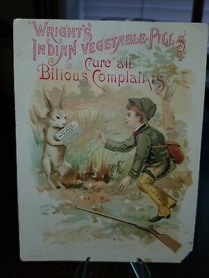 Vintage 1880s Trade Card - Wrights Indian Vegetable Pills Boy Hunting Rabbits