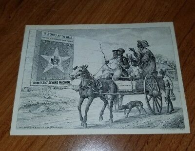 Domestic Sewing Machine Co. Black Americana Victorian Trade Card & Syracuse, Ny