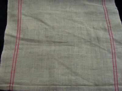 Antique French Kitchen Cloth ecru linen tea Towel drying cloth sepia red stripes