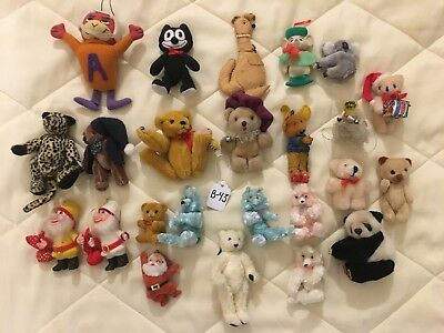 Lot Of 24 Vintage Stuffed Bears And Ornaments