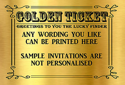 10 Golden Ticket Party Invitations 13th 18th 21st 30th 40th 50th 60th etc D368