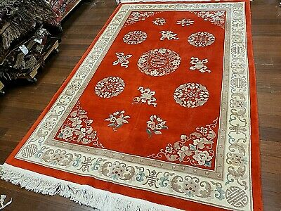8x10 CHINESE RUG VINTAGE PEKING NICHOLS AUTHENTIC HAND-MADE ORIENTAL RUG 1960s