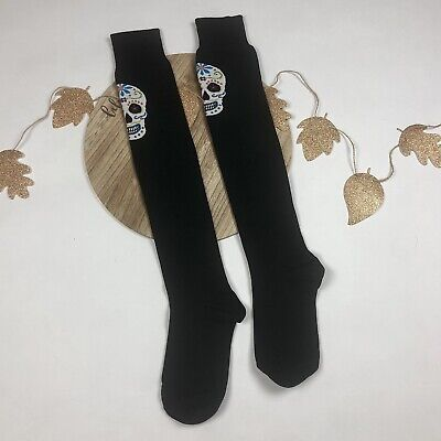 715884c0e60 SOCKSMITH WOMEN S BLACK Over The Knee Socks Day of the Dead Muertos ...
