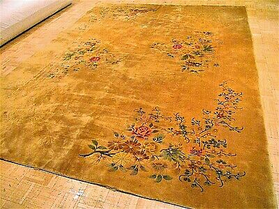 9x12 CHINESE RUG VINTAGE ART DECO NICHOLS AUTHENTIC HAND-MADE ORIENTAL RUG 1960s