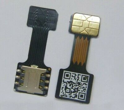 Black Nano Dual SIM Card Micro SD Adapter For Samsung Android