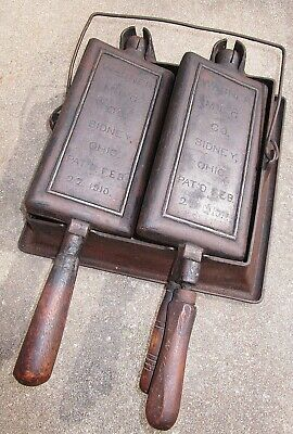 Old Antique Wagner Ware Cast Iron Waffle Maker Double Twin Hotel Pat Feb 22 1910