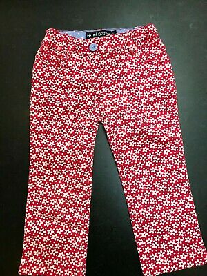 8b1f5dc4718cf MINI BODEN GIRLS Cropped Floral Pants Red White Flowers Size 7 ...