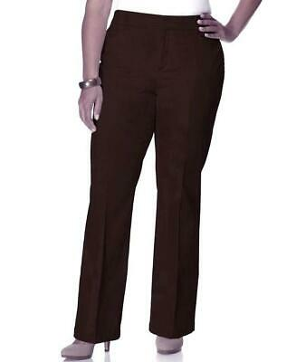 JM Collection Womens Pants Brown Twill Straight Tummy Slimming Size 18 Short NWT