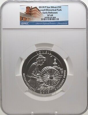 2019-P 5oz SILVER 25C Lowell Historical Park NGC SP 69 Early Releases must see!
