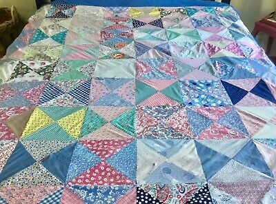 """Vintage """"Utility Quilt"""" Patchworked From Dress Fabrics And Tied Off"""