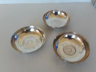 Set Of 3 Mid Size Persian Isfahan Solid Silver Bowl Decorated With Silver Coins