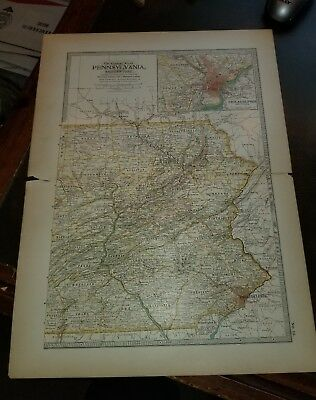 1897 The Century Atlas Original Map ~~ EASTERN PENNSYLVANIA ~~