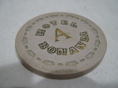 "Bonanza Hotel/Casino Las Vegas, Nv. ""A"" crown Roulette gaming chip/token, White."