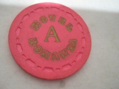 "Bonanza Hotel/Casino Las Vegas, Nv. ""A"" or ""B"" ROULETTE gaming chip/token, Pink."