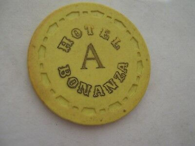 "Bonanza Hotel/Casino Las Vegas, Nv ""A"" or ""B"" ROULETTE gaming chip/token, yellow"