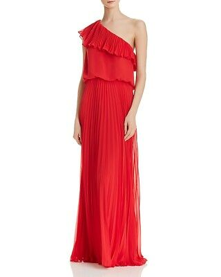 9b940f4d6d7dd $350 Avery G Womens Red One-Shoulder Ruffle Pleated Chiffon Formal Dress  Size 2