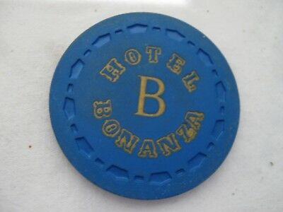 "Bonanza Hotel/Casino Las Vegas, Nv. ""A"" or ""B"" ROULETTE gaming chip/token, Blue."