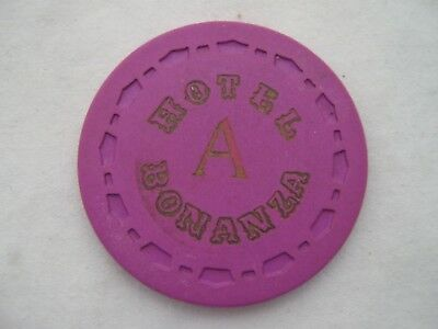 "Bonanza Hotel/Casino Las Vegas, Nv ""A"" or ""B"" ROULETTE gaming chips/token Purple"