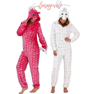 Womens Loungeable 3D Silver Star Unicorn All In One Ladies Novelty Loungewear