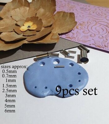 polymer clay puncher cutters round  pouncher hole set of 9 0.5mm-6mm