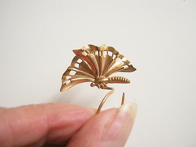 ancienne broche à chapeau papillon old brooch butterfly for hat gold color