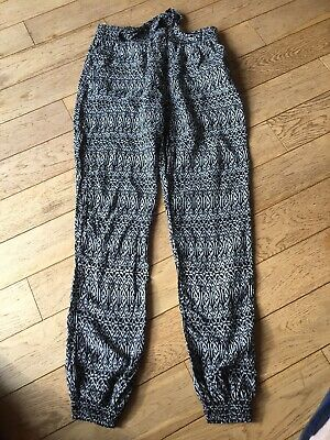 Girls Age 10-12 Years Elastic Black & White Viscose Trousers With Ties