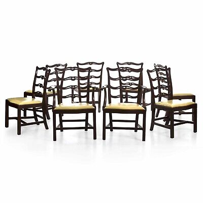 EIGHT CHIPPENDALE CHAIRS | Antique Dining Chair Set Hand Carved Mahogany