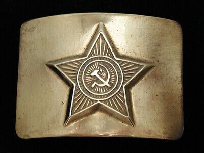 QI13123 VINTAGE 1970s *RUSSIAN MILITARY* HAMMER & SICKLE SOLID BRASS BELT BUCKLE
