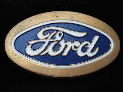 Ra13123 Vintage 1979 **Ford** Motor Company Logo Solid Brass Baron Belt Buckle