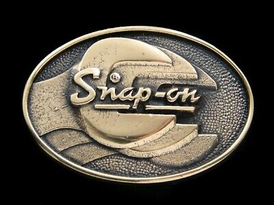RJ09117 *NOS* VINTAGE 1970s **SNAP-ON** TOOLS SOLID BRASS ADVERTISEMENT BUCKLE