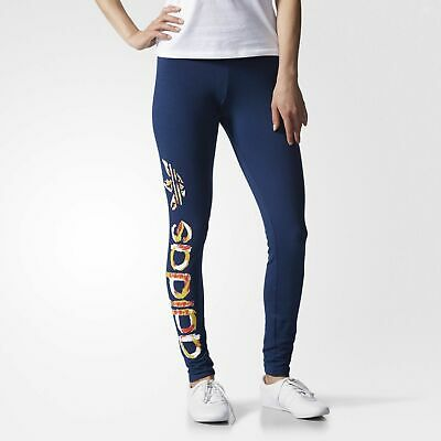 e2cde273da2cb adidas Originals Womens Classic Trefoil Print Tight Leggings Blue | AB2187