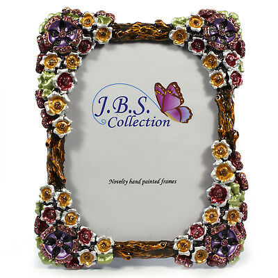 Bejeweled flower bouquet antique look photo frame, enamel painted w/ crystals