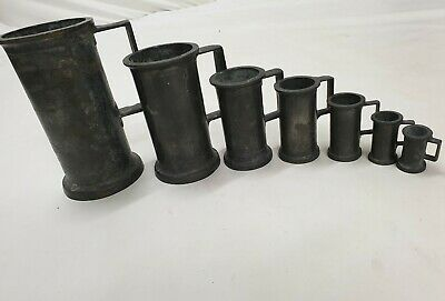 Antique Graduated Set of 7 Vintage French Pewter Measures RARE COMPLETE  SET