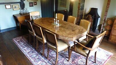 Antique Art Deco Burr Walnut Dining Table & 8 Chairs