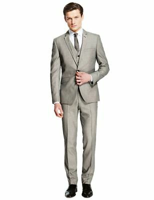 """New M&S Ltd Collection Super Slim  Grey Puppytooth Suit Sz 40"""" M with 32/31"""" leg"""